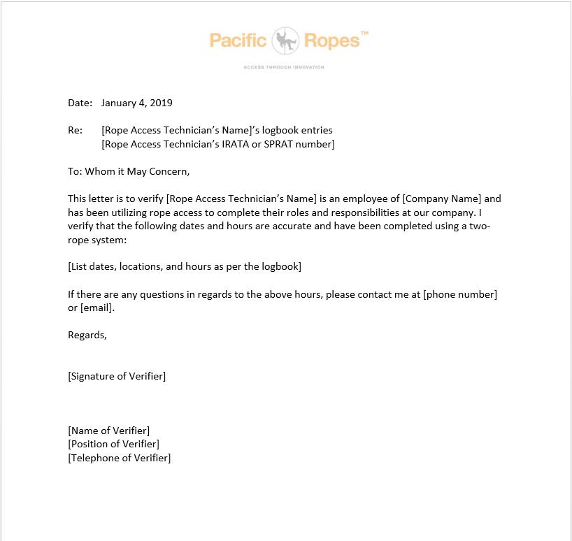 Sample Logbook Verification Letter
